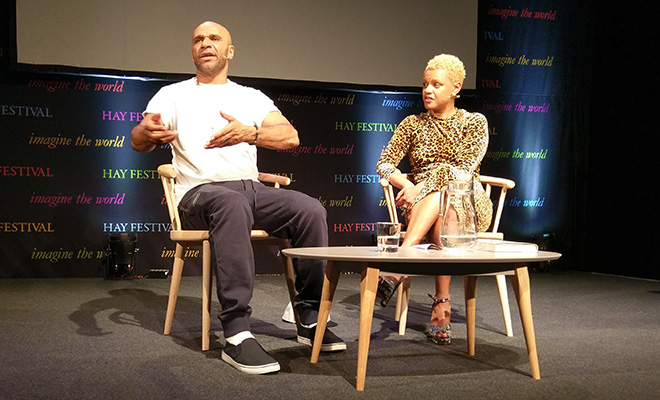 Goldie speaking to Gemma Cairney at this year's Hay Festival